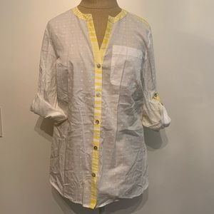 Vineyard Vines Yellow and White Button Up